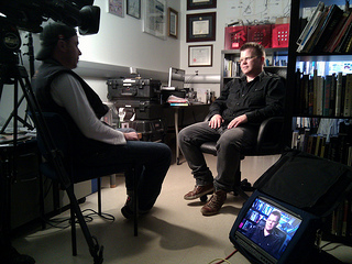 Garnet Hertz being interviewed by Discovery Channel Canada.