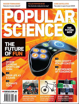 OutRun featured on cover of Popular Science (Feb 2012, Australian Edition)