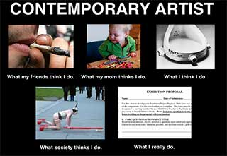 Contemporary Artist - What my friends think I do. What my mom thinks I do. What I think I do. What society thinks I do. What I really do.